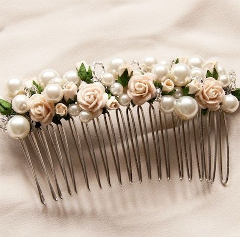 Image detail for -Rosa- pearl and flower hair comb