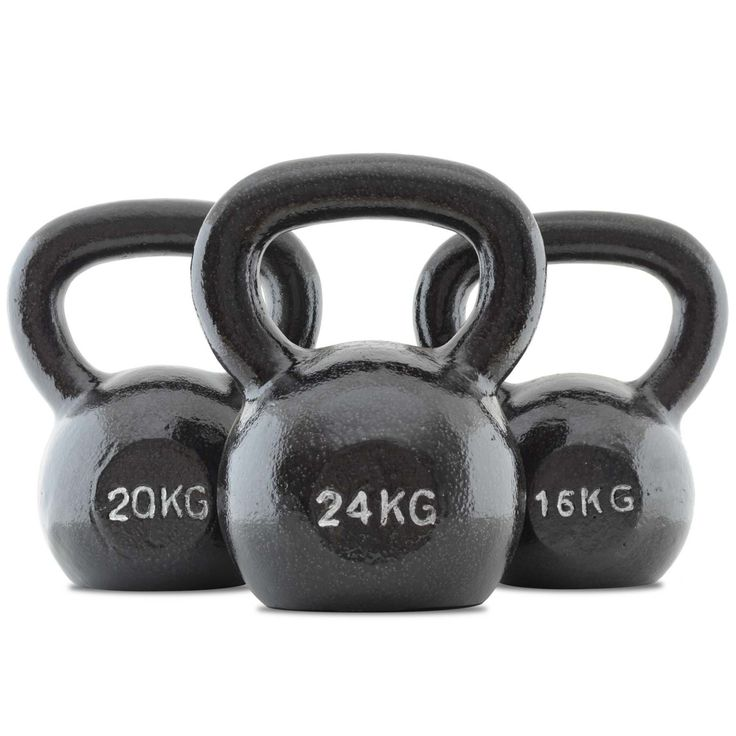 Bodymax Cast Iron Kettlebell Set F: 16Kg, 20Kg, and 24Kg