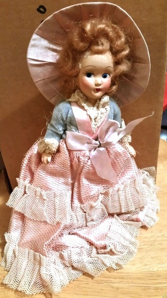 "VINTAGE 50's- 60's DOLL 8"" IN PINK AND BLUE DRESS WITH PINK HAT"
