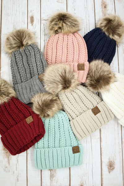 Fuzzy Lined Pom Pom Beanie More Colors - My Sisters Closet