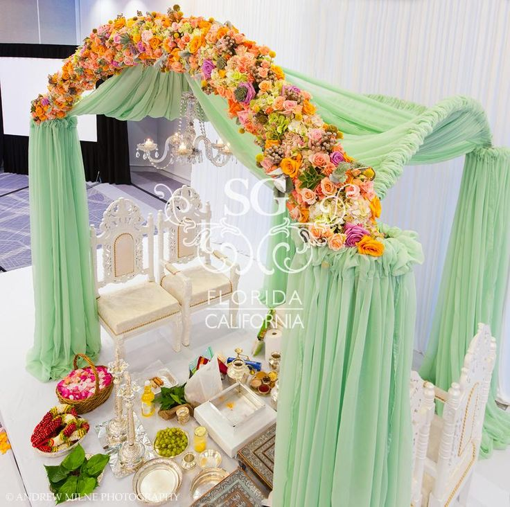 Suhaag Garden Weddings, California Indian Weddings, San Fransisco Indian Weddings, Florida Indian Weddings, Downtown Miami Hilton, Succulents, Mint Green Fabric Mandap, Raised Aisle, River of Candles, Angelic Mandap