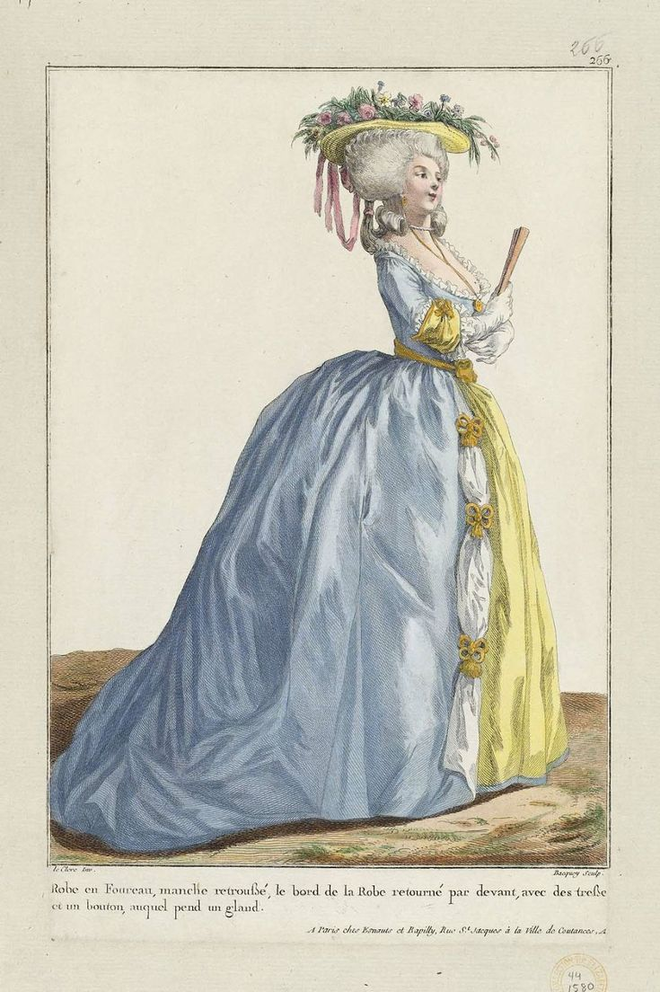 """Hand-Colored Engraving on Laid Paper, Designed by Pierre-Thomas LeClerc (French, about 1740–after 1799), engraved by Pierre-Charles Baquoy (1759–1829), published by Esnauts et Rapilly (French, 18th century): 1784, from """"Gallerie des Modes et Costumes Français,"""" (Gallery of French Fashion and Costumes), at the bottom of the page there is a description, in French, of the gown."""