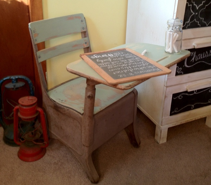 Rustic Distressed Vintage Childrens School Desk