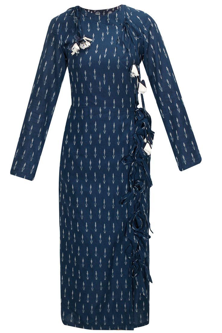 Navy ikat printed crossover dress by Ka-Sha. Shop now: http://www.perniaspopupshop.com/designers/ka-sha #dress #kasha #shopnow #perniaspopupshop