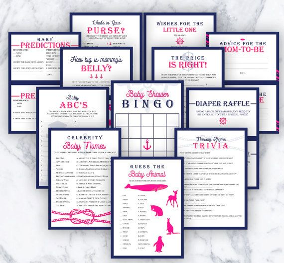 Baby Shower Girl Games Nautical Theme Navy & Hot by MadeofSimple