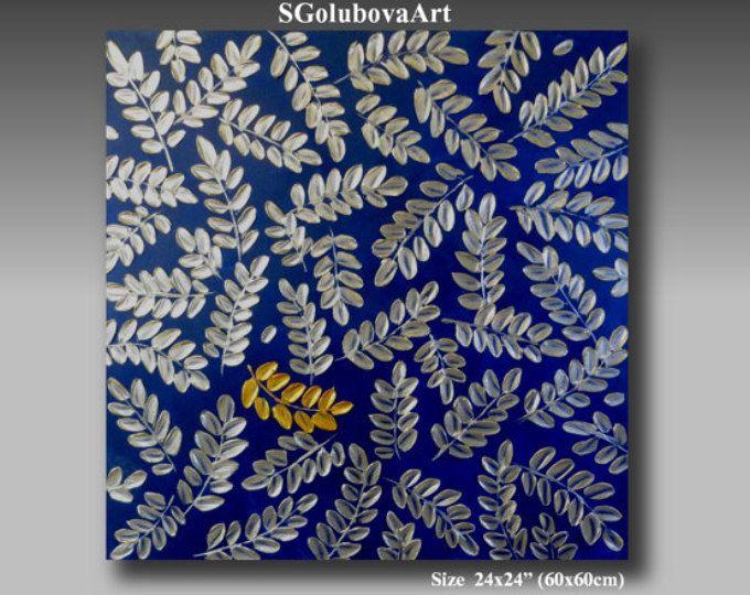 Peinture originale de l'art contemporain, art abstrait, peinture, minuit feuille d'or, bleu saphir & feuille d'argent, Modern art 3D, décoration murale