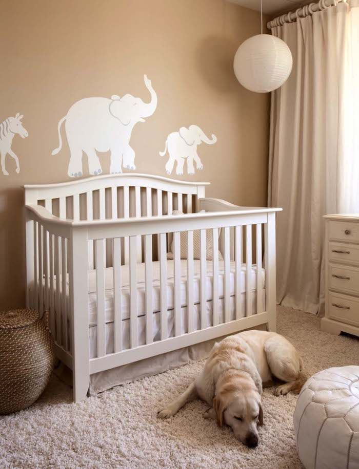 Horse And Two Elephants White Mural On Light Brown Wall Nursery Ideas For Girls And Boys Cream Colored Wooden Crib Baby Room Decor Wooden Cribs Baby Nursery