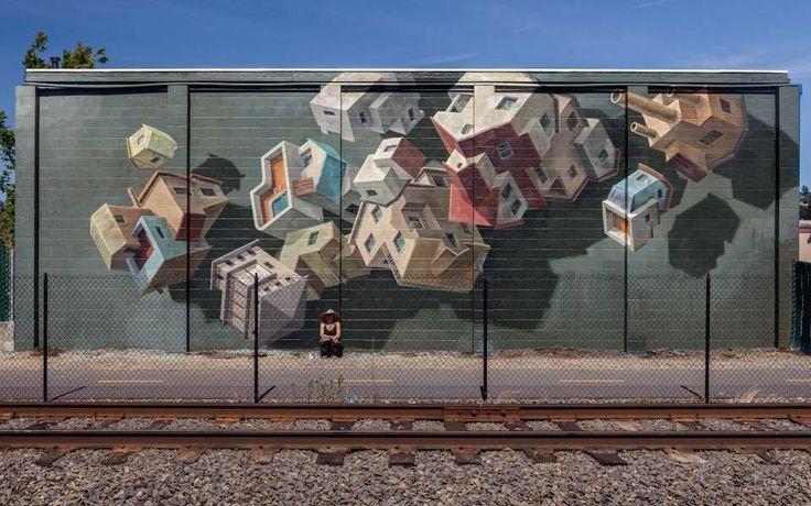 Floating Napa mural a la zona de Napa Valley de Califòrnia del Nord pel projecte RAD Napa comissariat per Thinkspace Gallery by Cinta Vidal Agulló.