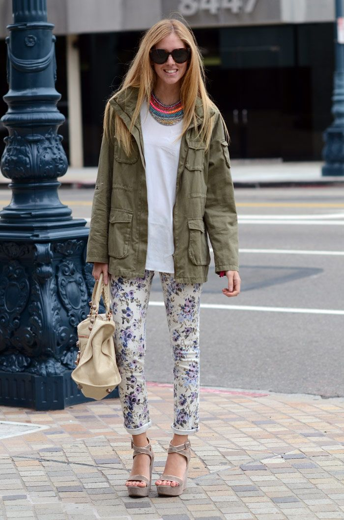 Floral jeans, cream wedges, a militar parka and Dannijo jewels