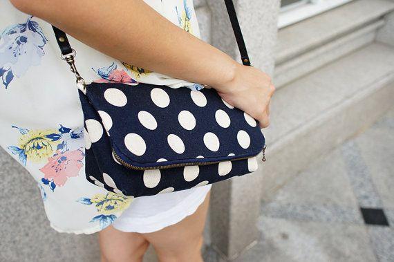 Blue Polka dot shoulder bag/foldover clutch by Ploceus on Etsy