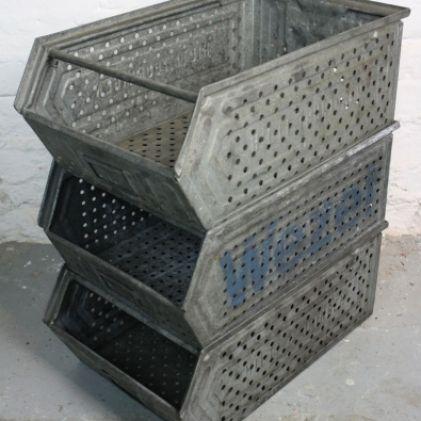 vintage industrial metal stacking storage container from germany - Metal Storage Containers
