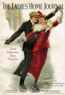 Valentine Skaters ~ February 1915 cover of The Ladies' Home Journal