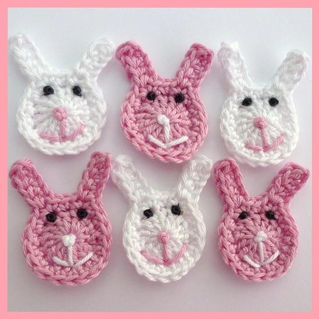 Crochet applique Easter bunnies