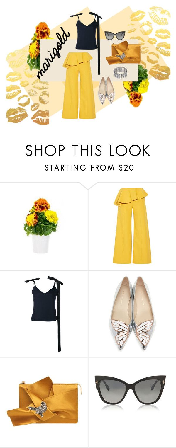 """Marigolds in May"" by simplastic ❤ liked on Polyvore featuring Click & Grow, Rosie Assoulin, Jacquemus, Sophia Webster, N°21, Tom Ford and Alice Menter"