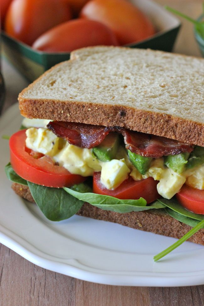 Egg Salad BLTA Sandwich - The addition of bacon is a near-perfect balance of sweet, smoky, crusty, and saltiness in this sandwich!