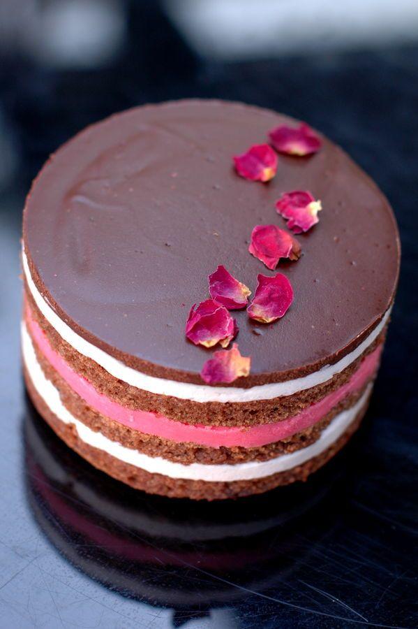 chocolate strawberry opera cake