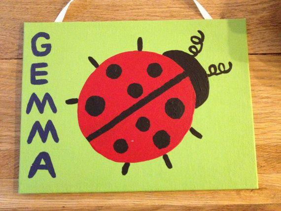 Kids Room Art Ladybug Painting Canvas Wall Decor For Baby