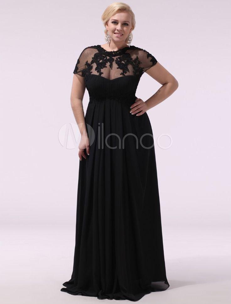 Black Applique High Collar Short Sleeves A-line Charming Evening Dress