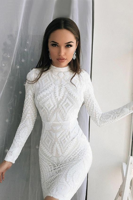 b31c21758b5 Sheath Jewel Long Sleeves Short White Homecoming Cocktail Dress by Hiprom