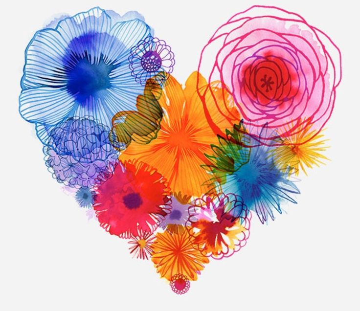 Floral heart graphic