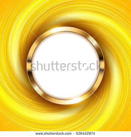 Metallic gold ring with text space and swirl yellow light Vector Illustration
