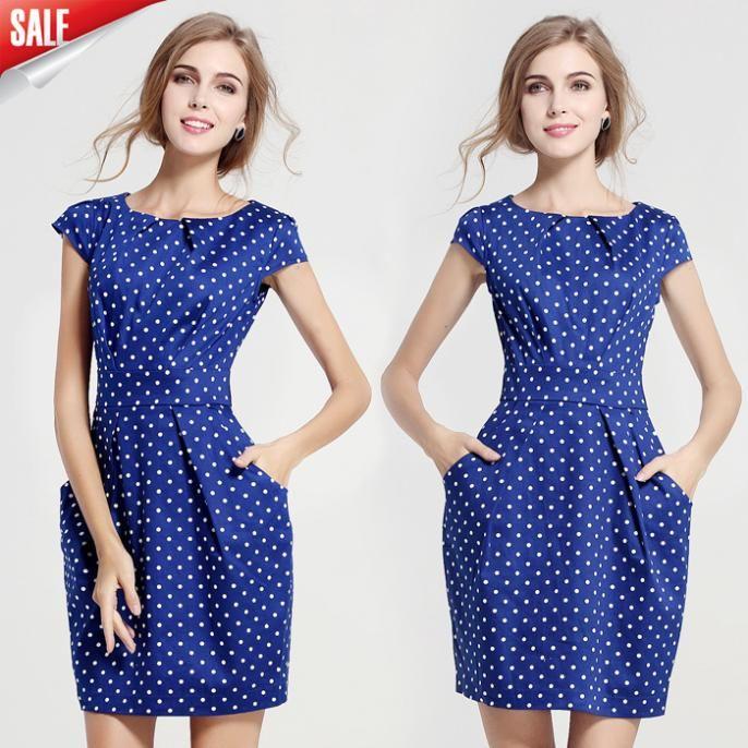 Cheap dress dots, Buy Quality dress weding directly from China dot Suppliers: Lemp women casual summer sleeveless plus size women chiffon dresses 2015 vestidos fashion white/blue/dark blue patchwork