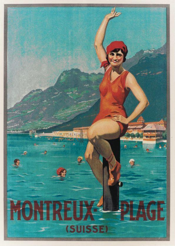 Montreux - Plage (Suisse) - Galerie 123 - Original Vintage Posters