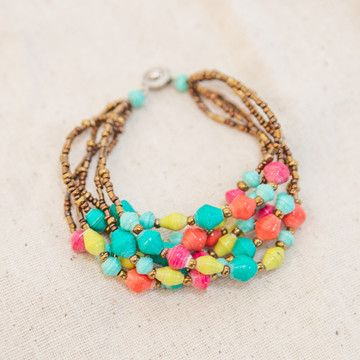 recycled paper beads bracelet