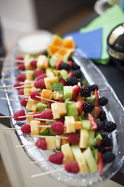 fruit skewers, yummy and definitely fitting the beach idea!