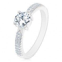 Srebrny pierścionek 925, okrągła cyrkonia bezbarwnego koloru, cyrkonie na ramionach cena 44,00zl