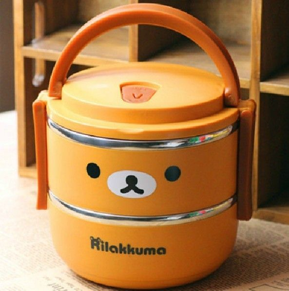Novelty Rilakkuma 2 Layer Stainless Steel Bento Lunch Box for kids Dinnerware Set Container for food Children's Tableware 1400ML-in Storage ...  http://www.aliexpress.com/item/Novelty-Rilakkuma-2-Layer-Stainless-Steel-Bento-Lunch-Box-for-kids-Dinnerware-Set-Container-for-food/840229750.html