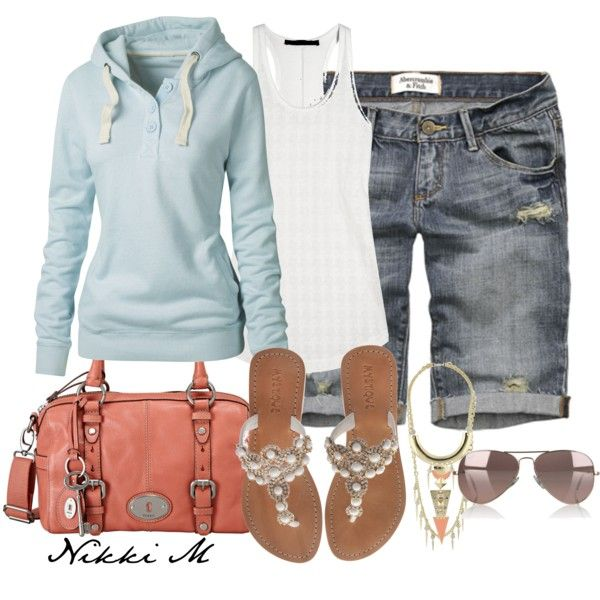 The blue hoody rocks:) And how about that Fossil bag? Cute, cute, cute.Casual Outfit, Blue Hoodie, Fashion Ideas, Casual Summer, Style, Fossils Bags, Cute Outfit, Beautiful Clothing, Dreams Closets