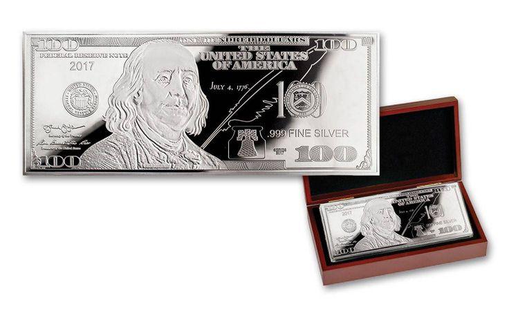 2017 100 Dollar Bill 1-oz Silver Franklin Proof