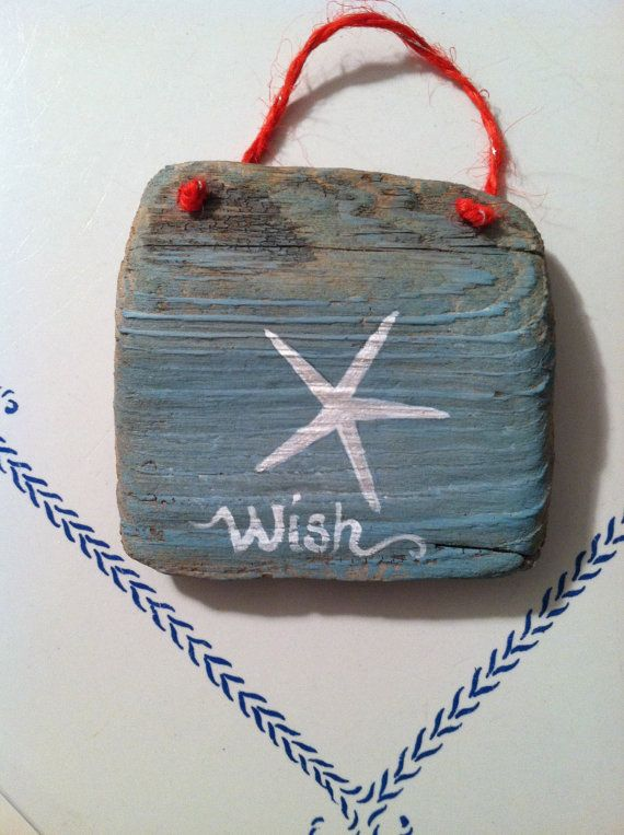 Hand Painted Driftwood Starfish Wish Tree Ornament Christmas