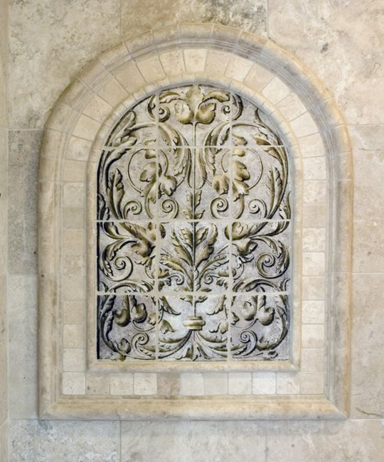 metal amore stone tile mural with arch close up
