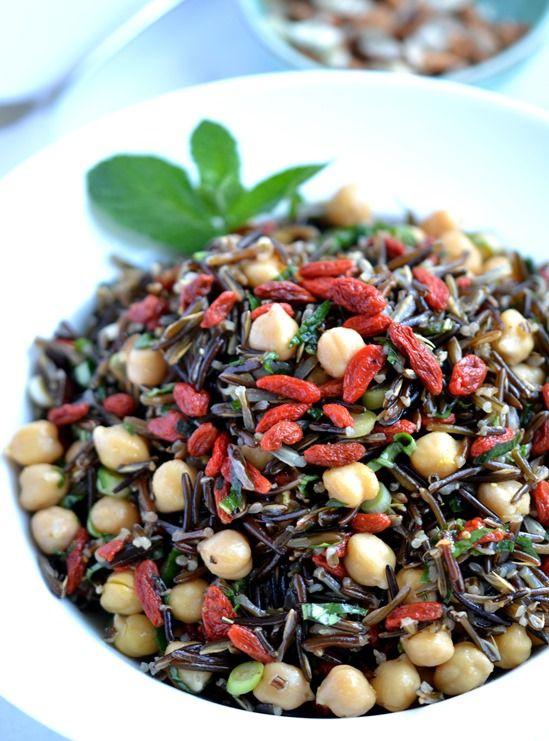 Chickpea, Goji & Wild Rice Salad | Coconut and Berries