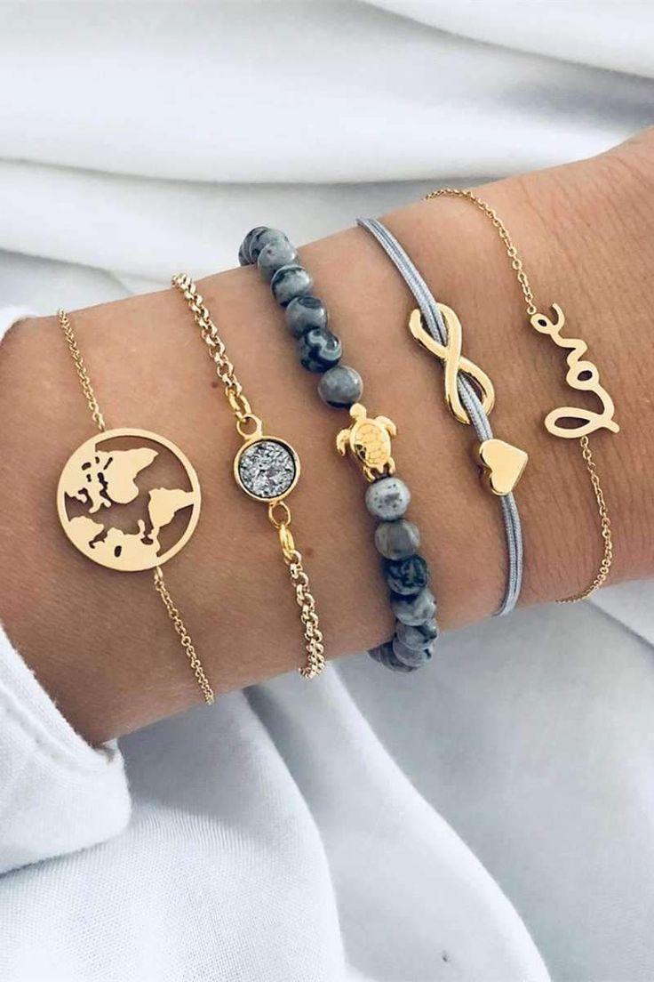 Cute Turtle World Map Marble Bracelet Set