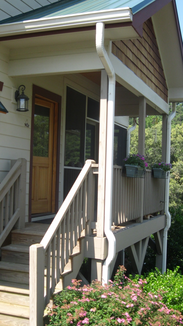 Side porch ~ For me fewer stairs & more flat surface would make it easier for me to go outside & do yard work or tend to the guinea pigs.  (I have trouble with my knees).
