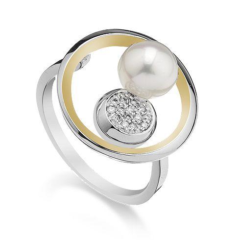 #Bijuterii cu perle Inel cu perla si diamante B799