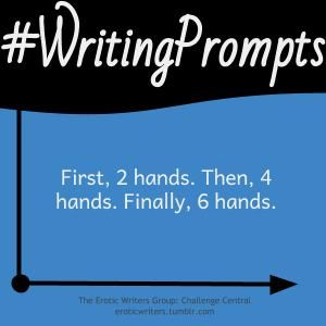#WritingPrompts for #EroticWriters: First, 2 hands. Then, 4 hands. Finally, 6 hands. (#Session6:D1)  Participate here: http://eroticwriters.tumblr.com/post/111759927742/writingprompts-s6d1