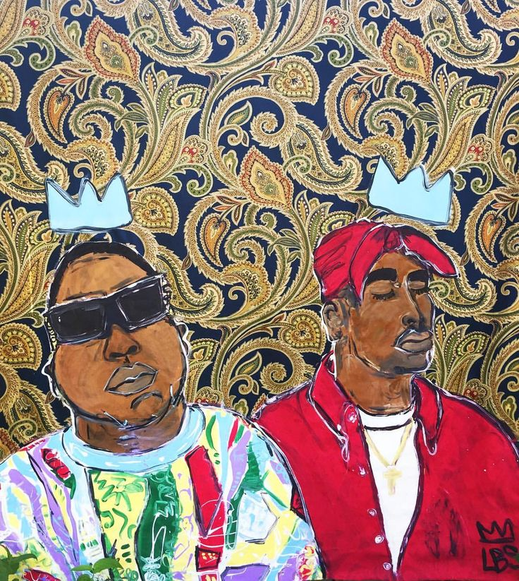 "LBS (@artistlbs) on Instagram: ""Biggie + Tupac 4 ft x 8 ft Acrylic on Fabric #artbyLBS #commissioned #tapestry #painting #biggie #tupac"