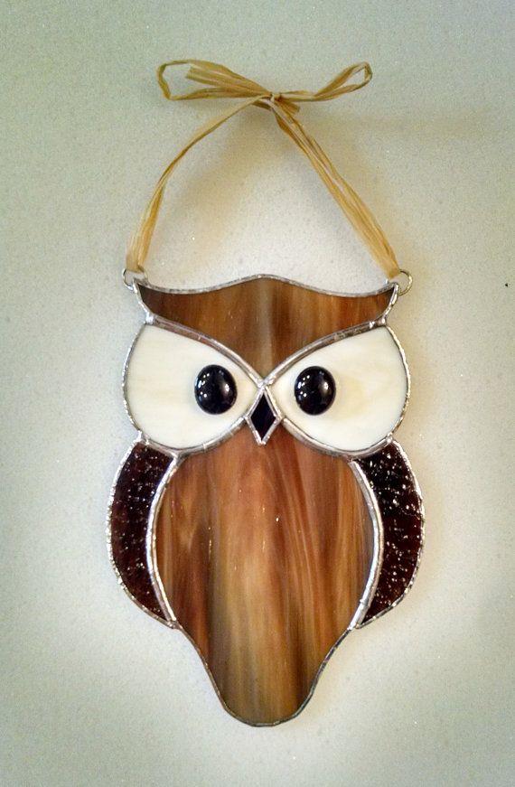 Stained Glass Owl Suncatcher Bird Window by StainedGlassYourWay                                                                                                                                                                                 More