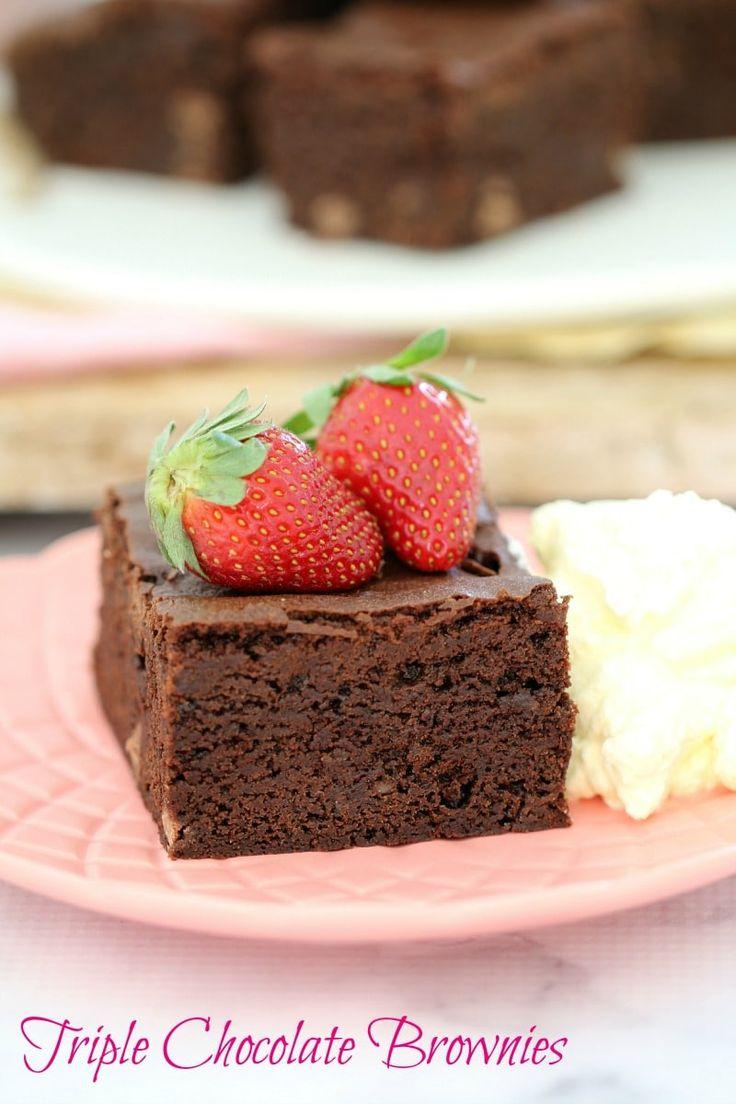 Melt & Mix Triple Chocolate Brownies - Bake Play Smile