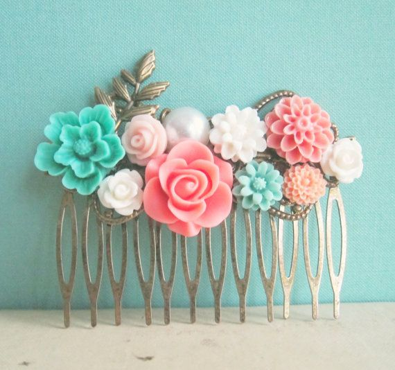 JewelsalemBridal -- Mint Green Coral Wedding Hair Comb Peach Pink Aqua Turquoise Flower Floral Head Piece Bridal Hair Pin Pastel Colors Bridesmaid Gift