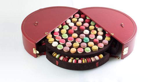 A most amazing way to travel with macarons! Au revoir, Tupperware! La Malle Macaron de Moynat via Franki Durbin at Life in a Venti Cup