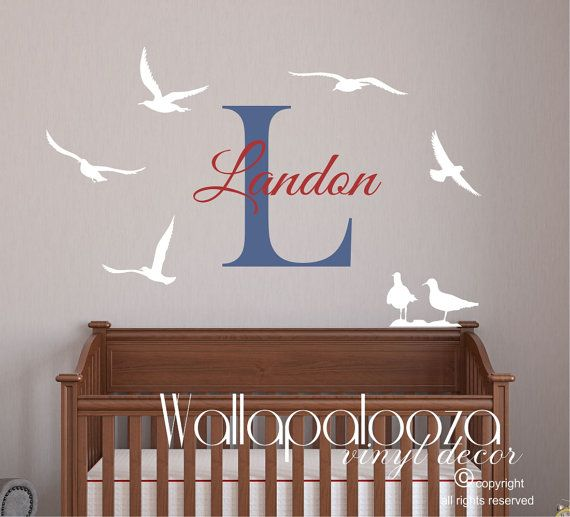 Seagull wall decal  nautical wall decal  by WallapaloozaDecals