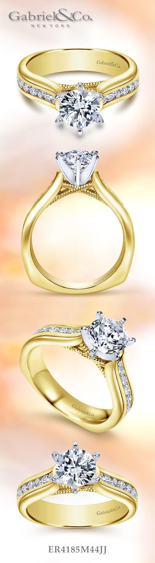 Gabriel & Co. - Voted #1 Most Preferred Bridal Brand.   14k Yellow/White Gold Round Straight Engagement Ring.