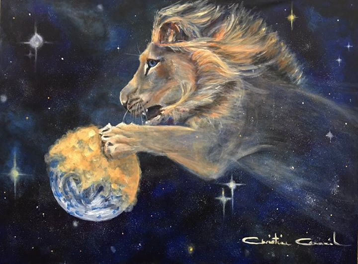 Releasing His Glory Lion of Judah with His paw on the earth with gold, prophetic art. | Prophetic art, Prophetic painting, Lion of judah jesus