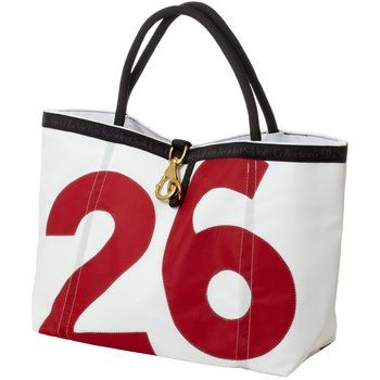 Sail Cloth Rope Tote. With its brass clip and o-ring closure, this recycled sailcloth tote has maritime style in the bag. Made of recycled marine-grade canvas, it's sun-, mold-, mildew- and water-resistant. $120.00