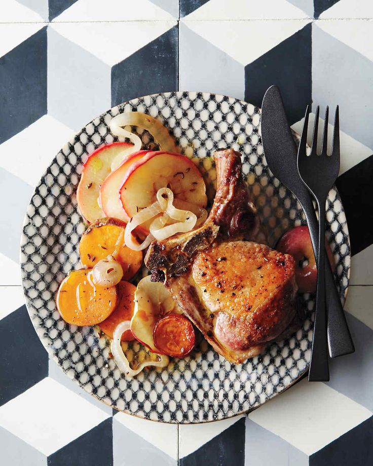 Roasted Pork Chops with Sweet Potatoes and Apples